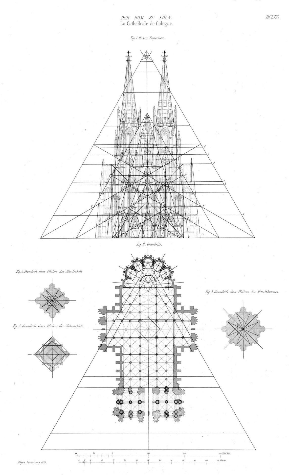 Elevation And Plan Of The Cathedral Cologne