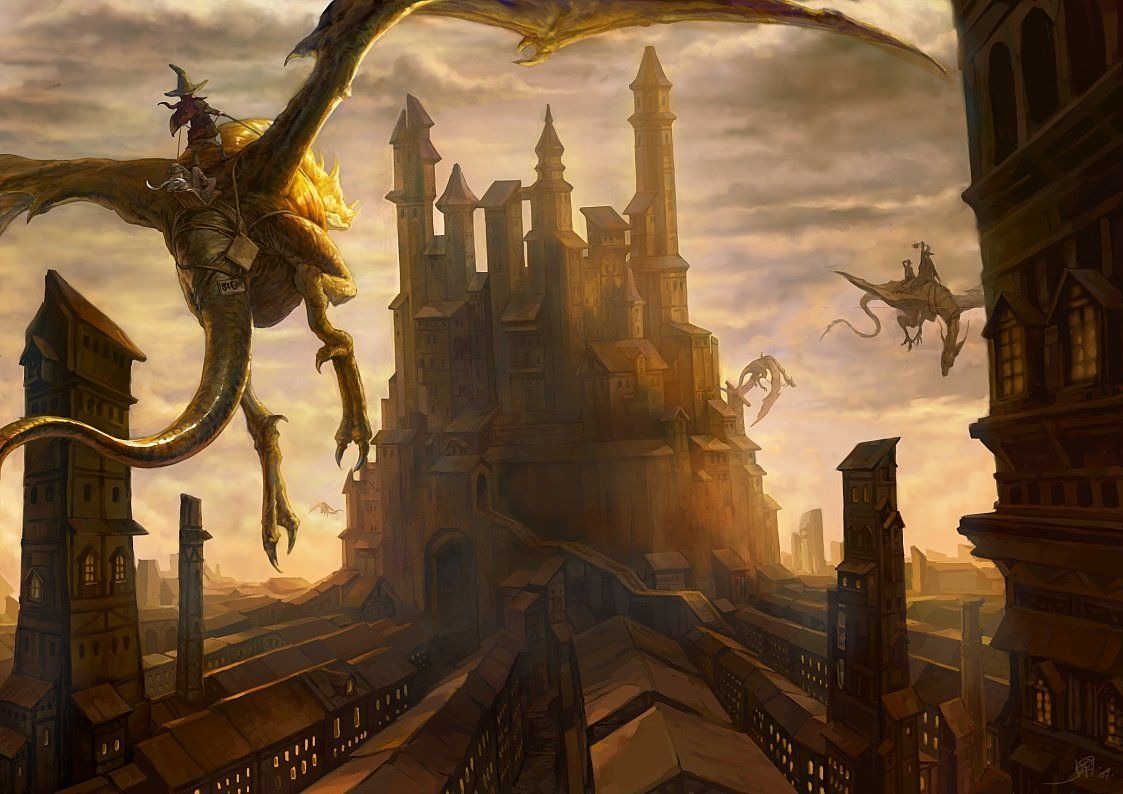 Flying Taxi Picture 2d Illustration Fantasy Dragons
