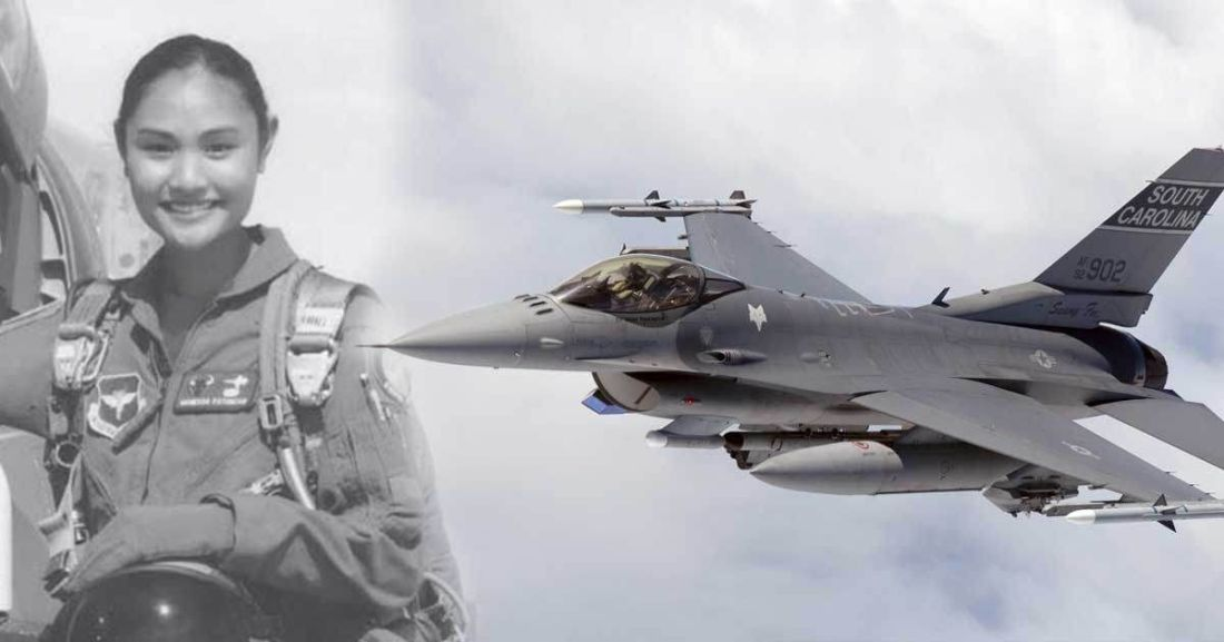 Filipino proud us air force f16 jet fighter pilot is a