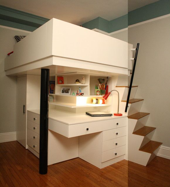 Cheerful Loft Bed For Your Children Space Saving Corner