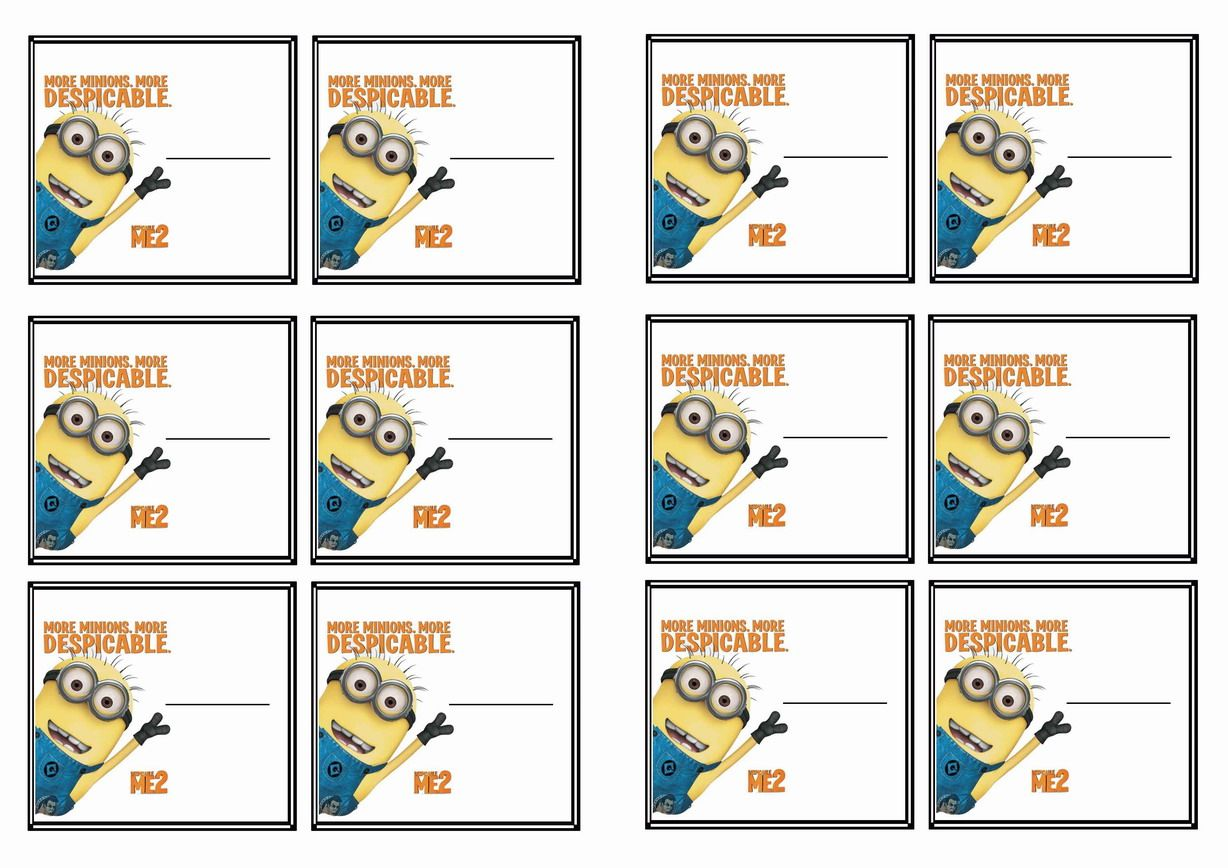 Free Printable Despicable Me Themed Name Tags Themed Name Tags