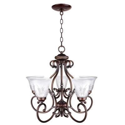 Hampton Bay Bercello Estates 5 Light Volterra Bronze Chandelier 17060 The Home Depot