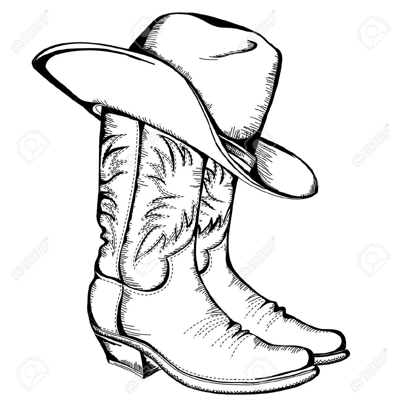 Cowboy Boots And Hat Graphic Illustration Royalty Free Cliparts Vectors And Stock Illustration