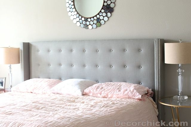Tufted Linen Grey Upholstered Headboard With Nailhead Trim