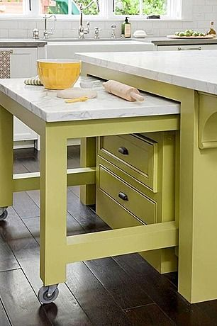 kitchen island pull out one with marble for baking and one with a vutting board in the second on kitchen island ideas kids id=56885