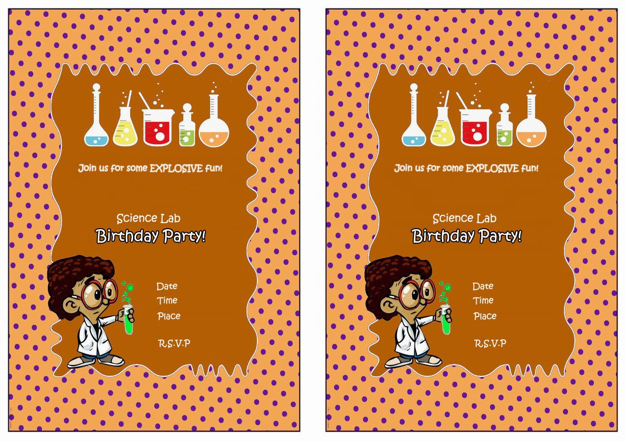 Science Free Printable Birthday Party Invitations Birthday Party Invitations