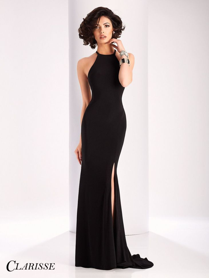 Clarisse Prom Black High Neckline Slit Prom Dress Beauty
