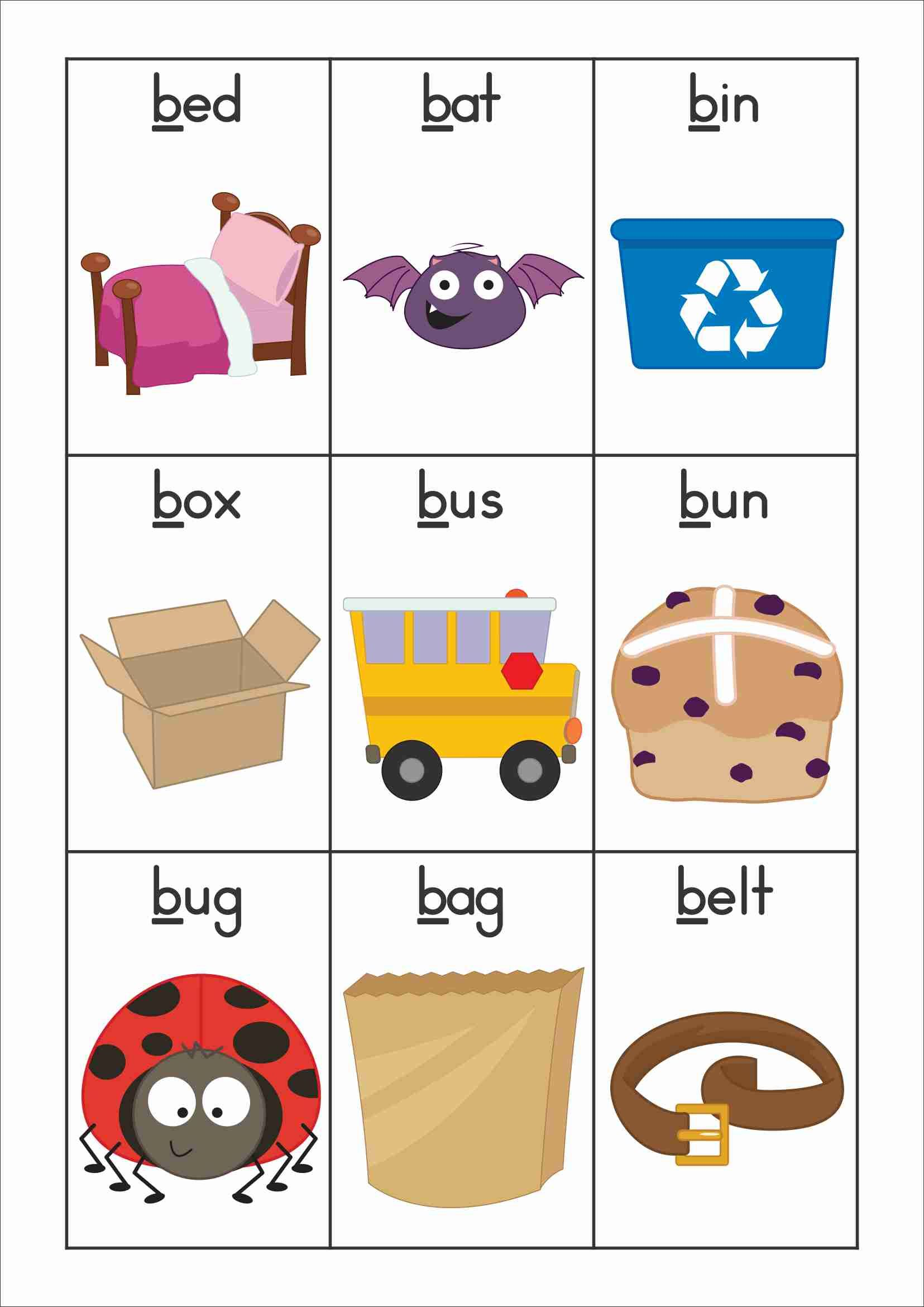 Free Phonics Letter Of The Week B Vocabulary Or Word Wall Cards