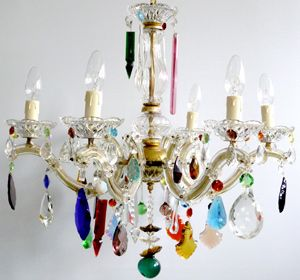 5 Arm Glass Marie Therese Chandelier With Vintage Coloured Drops