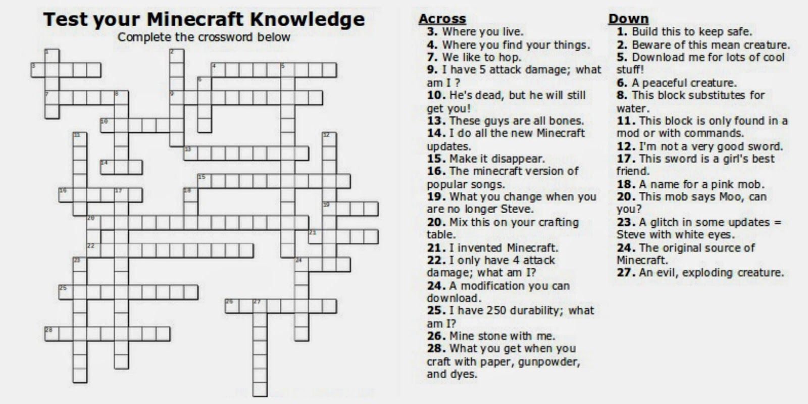 Free Printable Minecraft Crossword Search Test Your Minecraft Knowledge