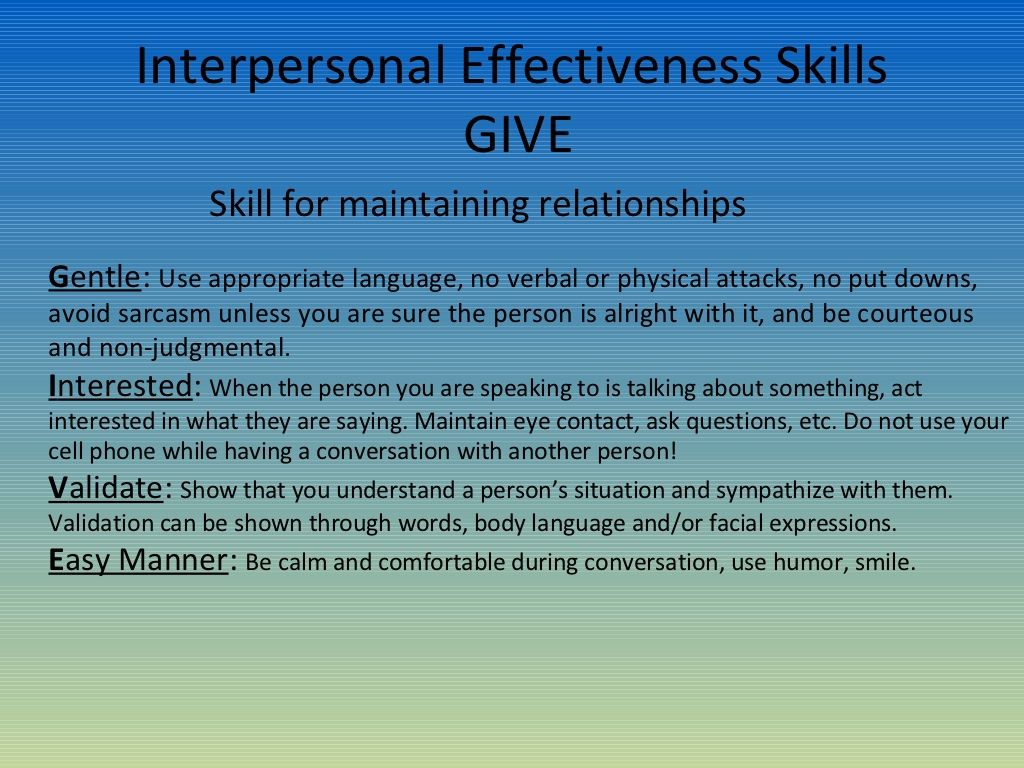 Dbt Skill For Maintaining Relationships