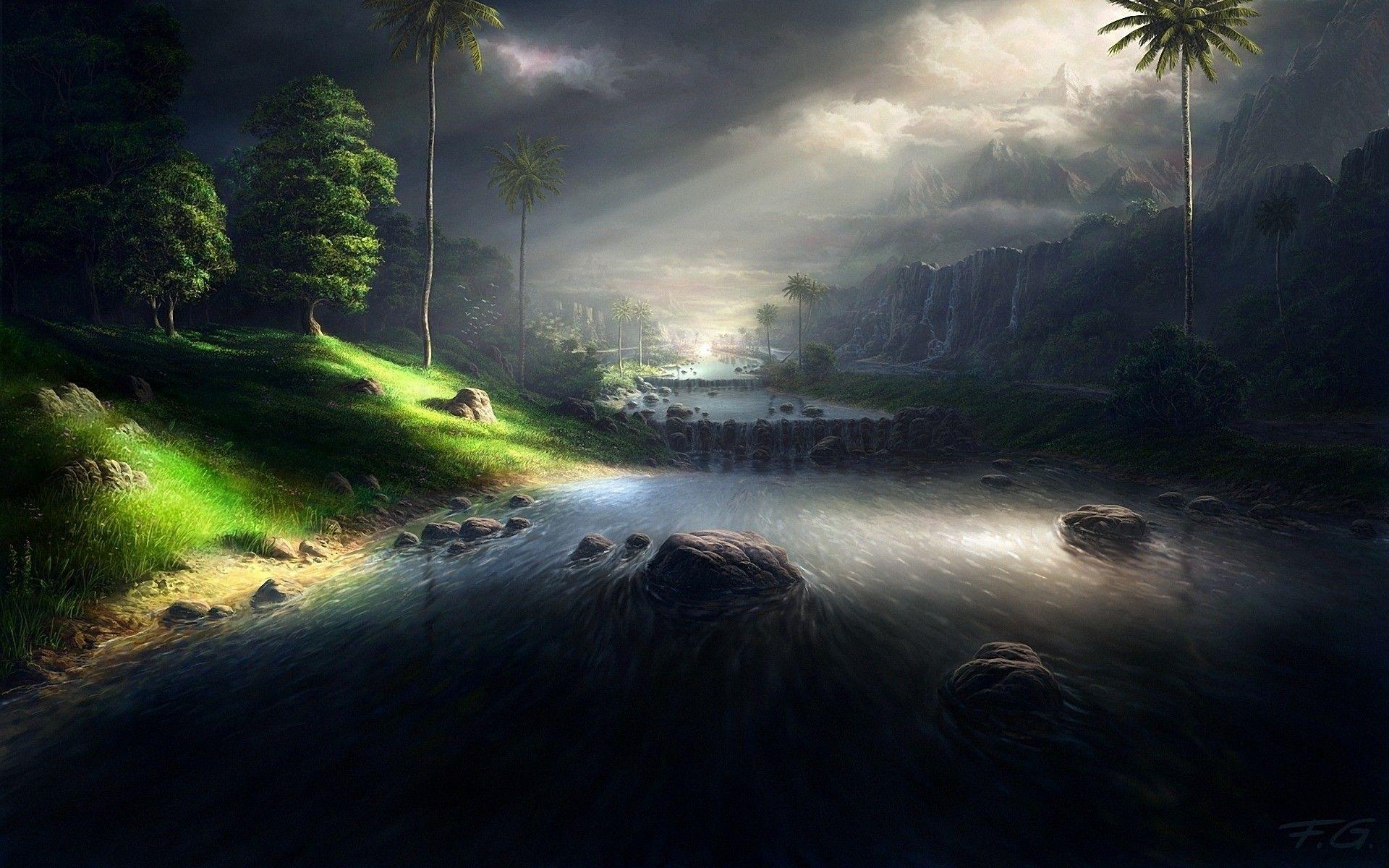 sunlit dark #river #landscape #digital #art 3d #wallpaper | 3d