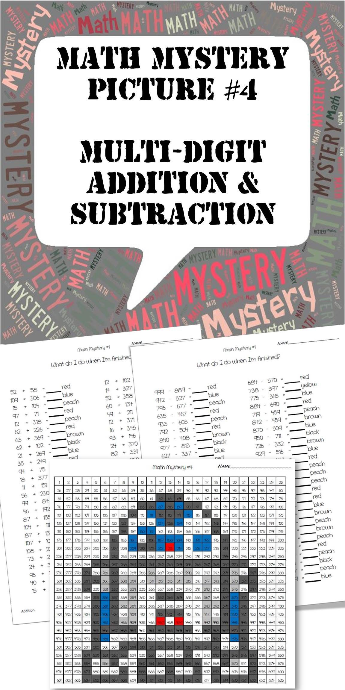 Mystery Picture 4 Multi Digit Addition And Subtraction
