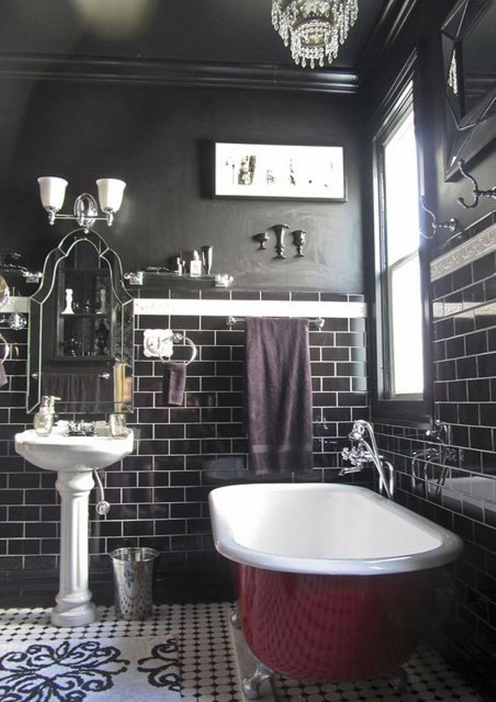 Black Bathroom With Dark Cherry Red Clawfoot Tub Baths And Showers Pinterest Tubs
