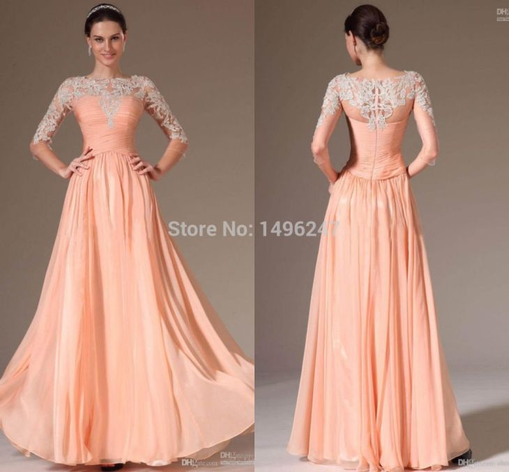 Hot Selling Pink Lace Long Evening Dress With Sleeve Sheer Beaded A