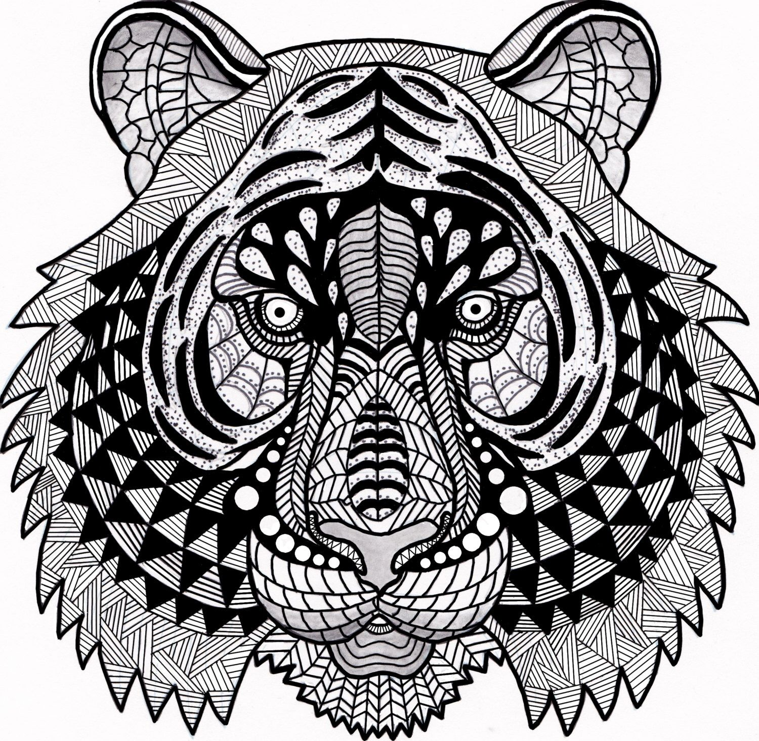 Tiger Zentangle Coloring Page By Inspirationbyvicki On