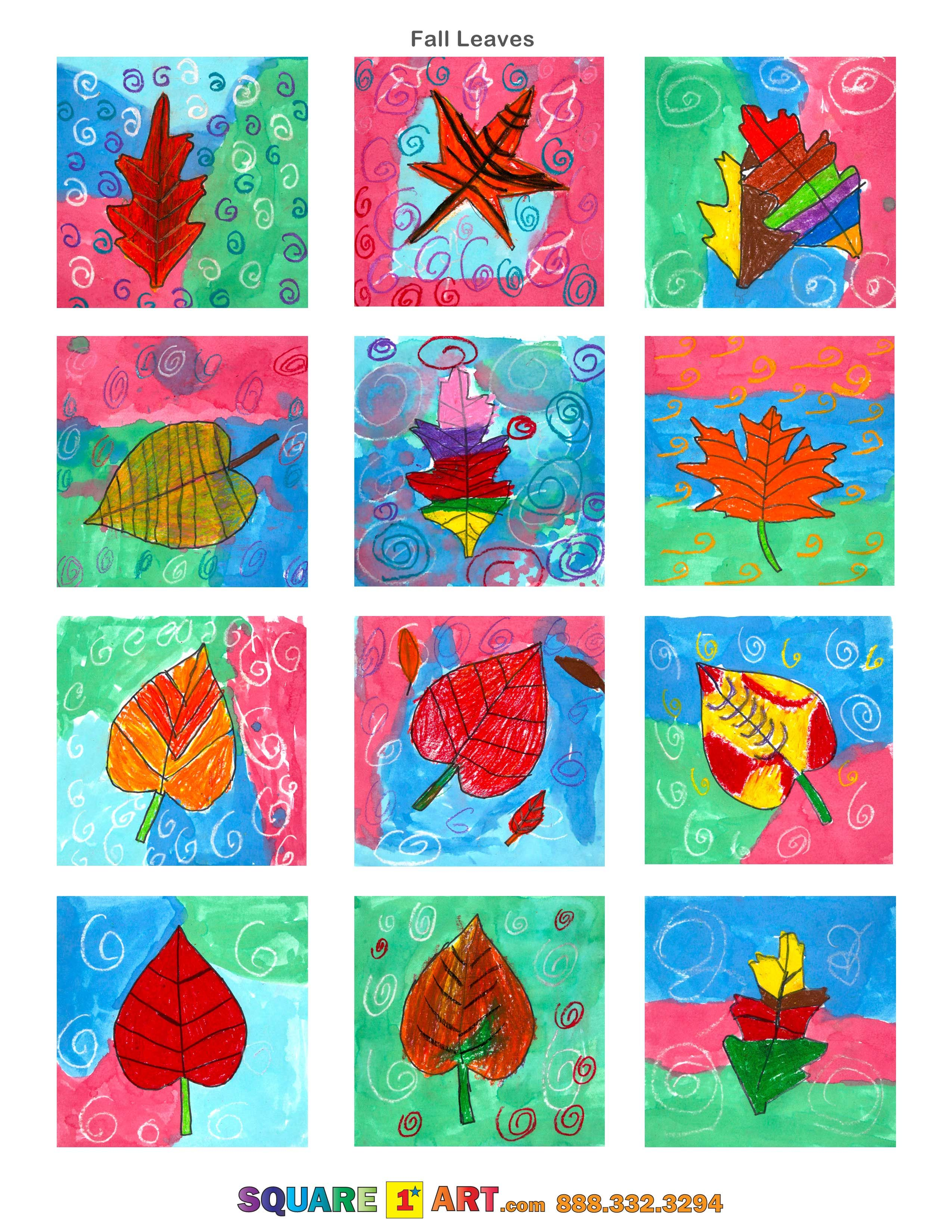 Fall Leaves Medium Watercolor Background Oil Pastel