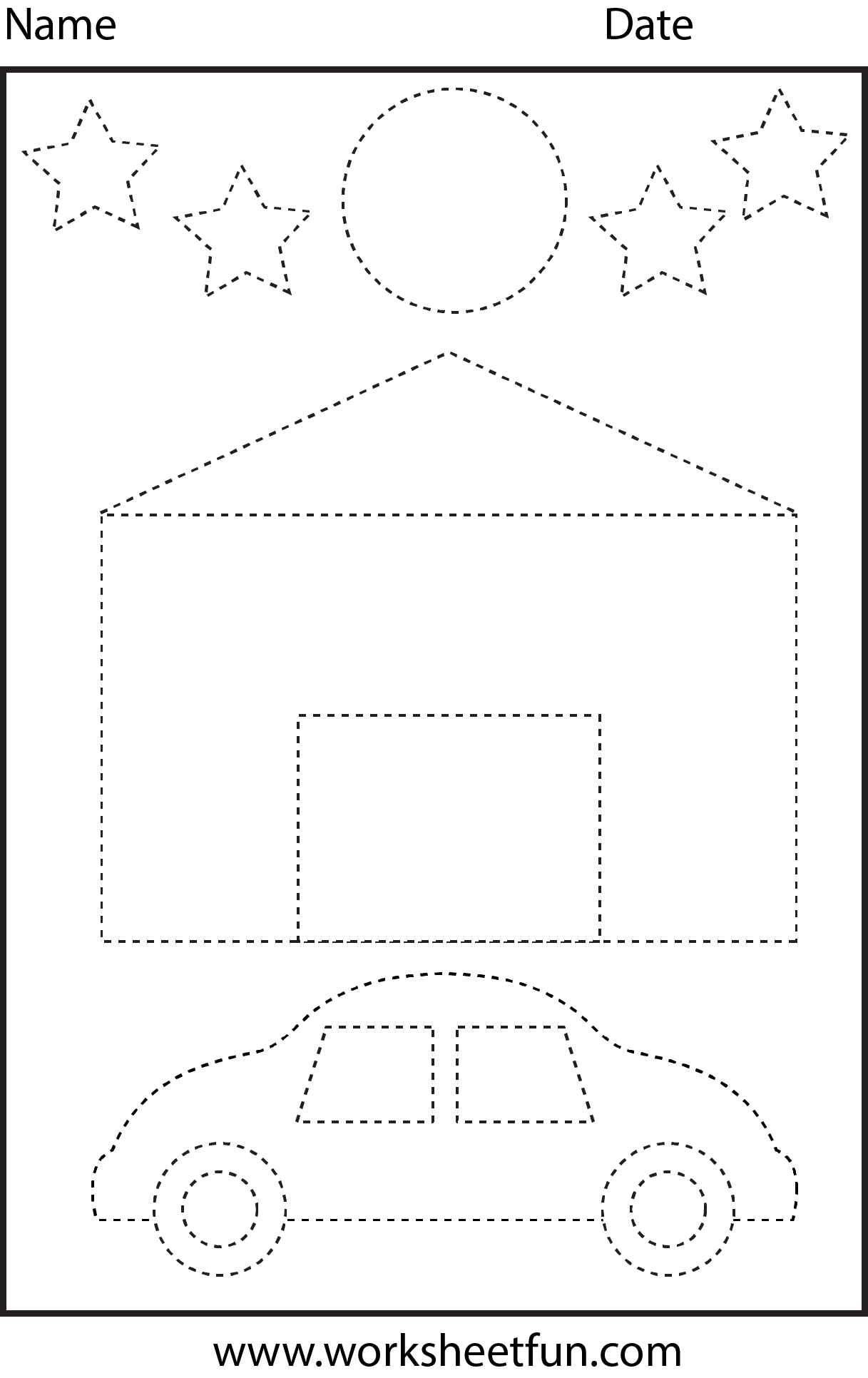 House Car Moon Amp Stars Tracing Worksheet