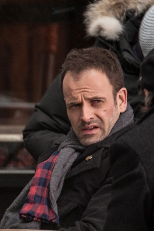 Jonny Lee Miller on the set of Elementary in Brooklyn, NY ...