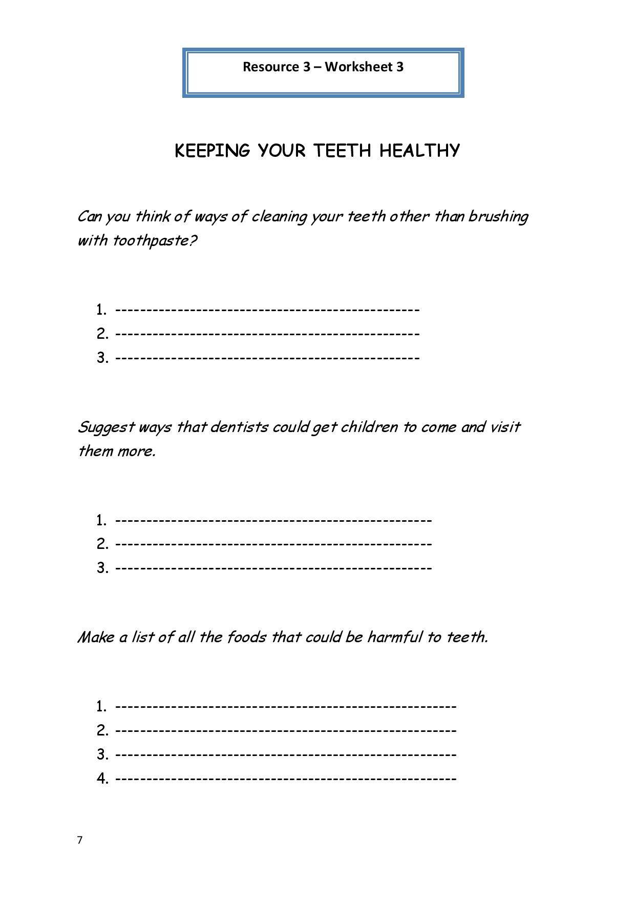 Personal Hygiene Worksheet 3 Keeping Your Teeth Healthy