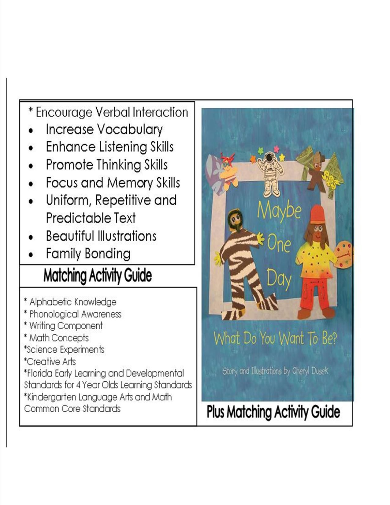 Activity Guide Is Aligned With Florida Early Learning Developmental Standards For Four 4 Year