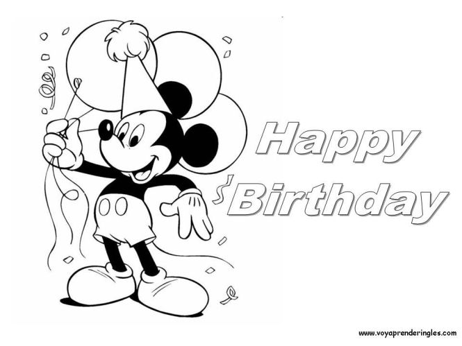 Mickey Mouse Birthday Coloring Pages Google Search