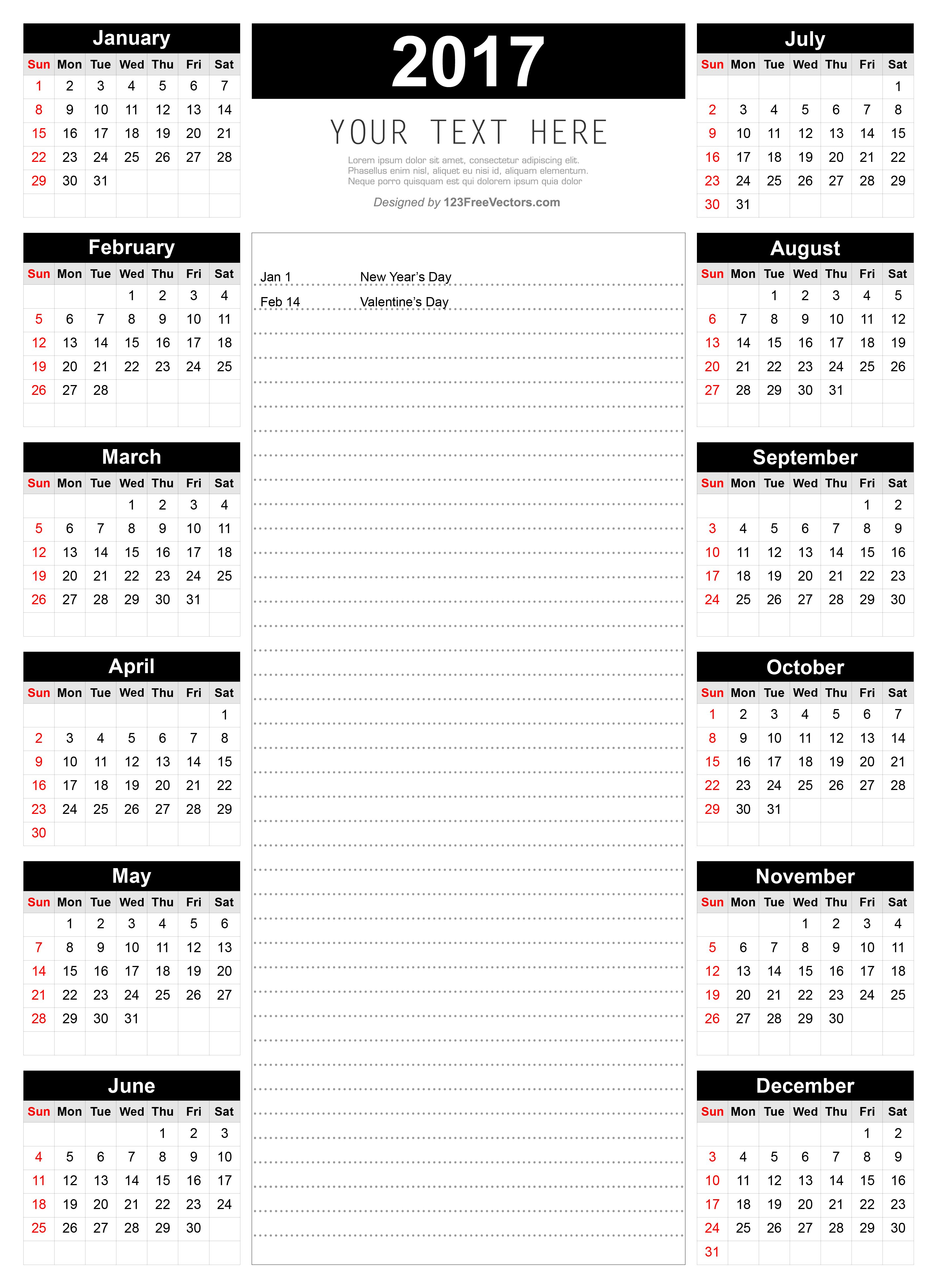 Printable Calendar Template With Notes