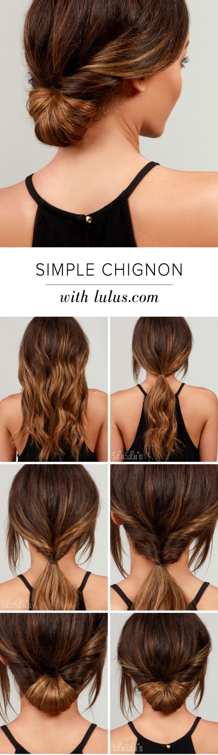 Lulus HowTo Simple Chignon Hair Tutorial Chignon hair Chignons
