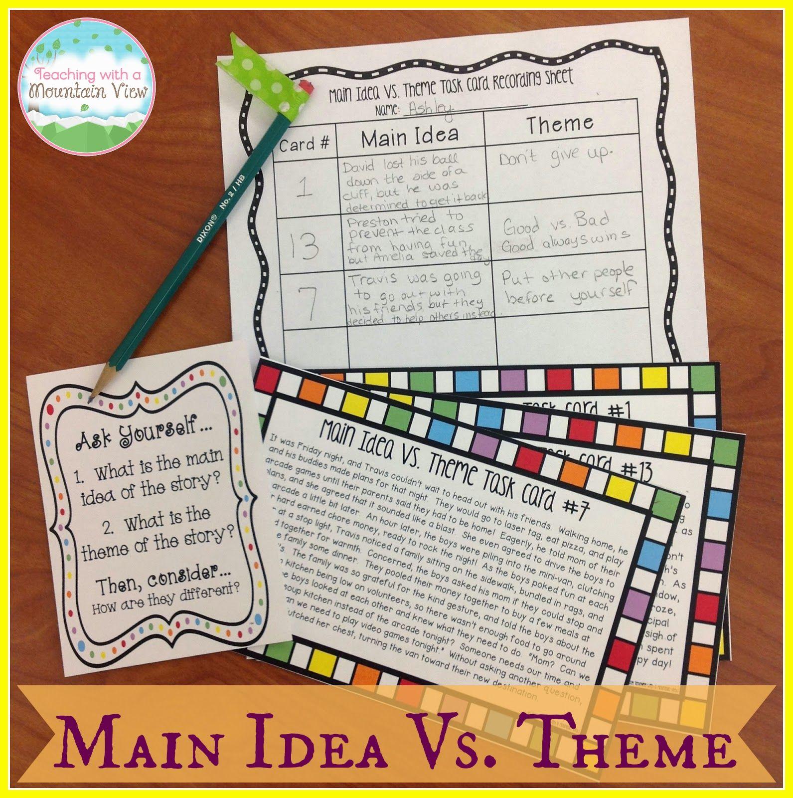 Teaching Main Idea Vs Theme