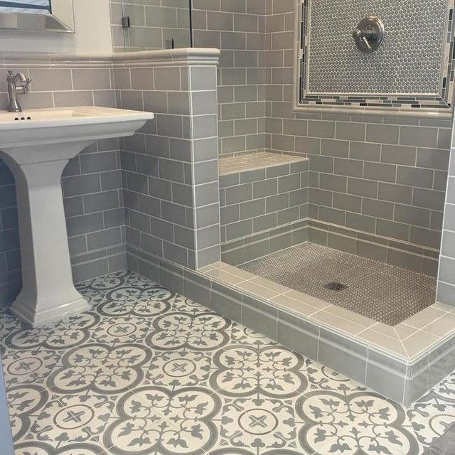 bathroom tiles - cheverny blanc encaustic cement wall and floor