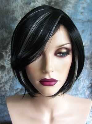 black with white highlights short wig wigs not sure about wigs but want my hair cut like this