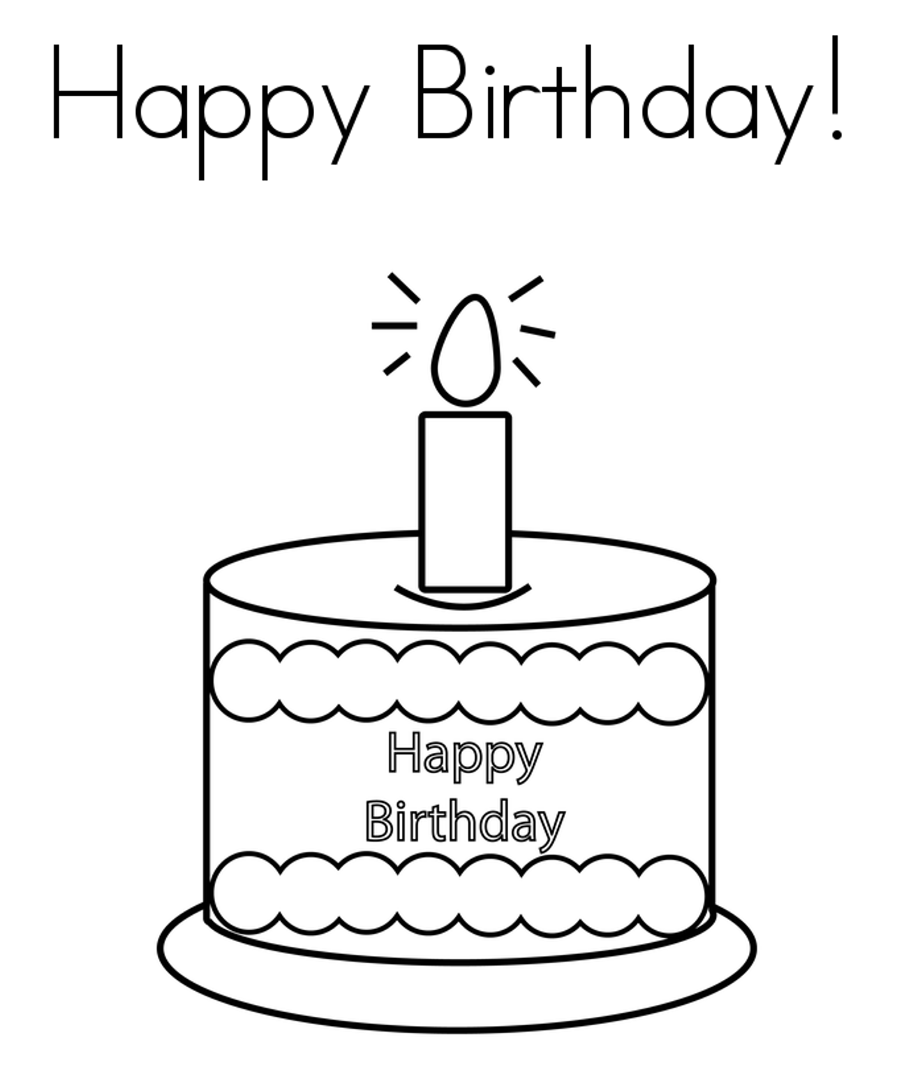 Happy Birthday Cake Coloring Pages
