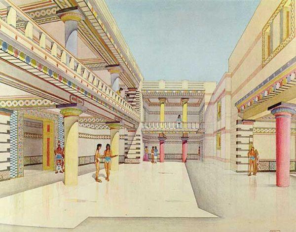 Drawing reconstruction of the Palace of Nestor at Pylos