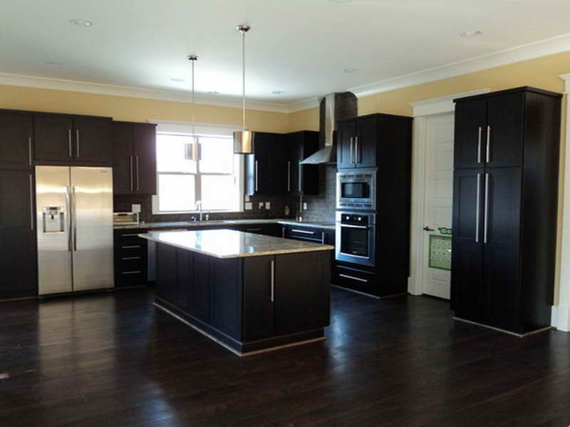 dark hardwood floors for classy and elegant design with a kitchen table too dark too matchy on kitchen remodel dark floors id=54339