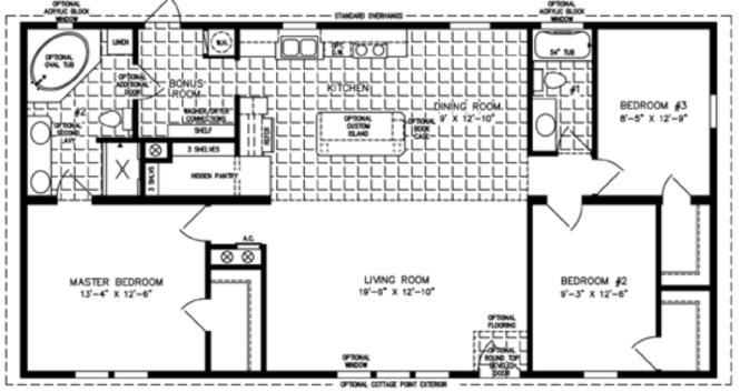 3 Bedroom Mobile Home Floor Plan Homes For