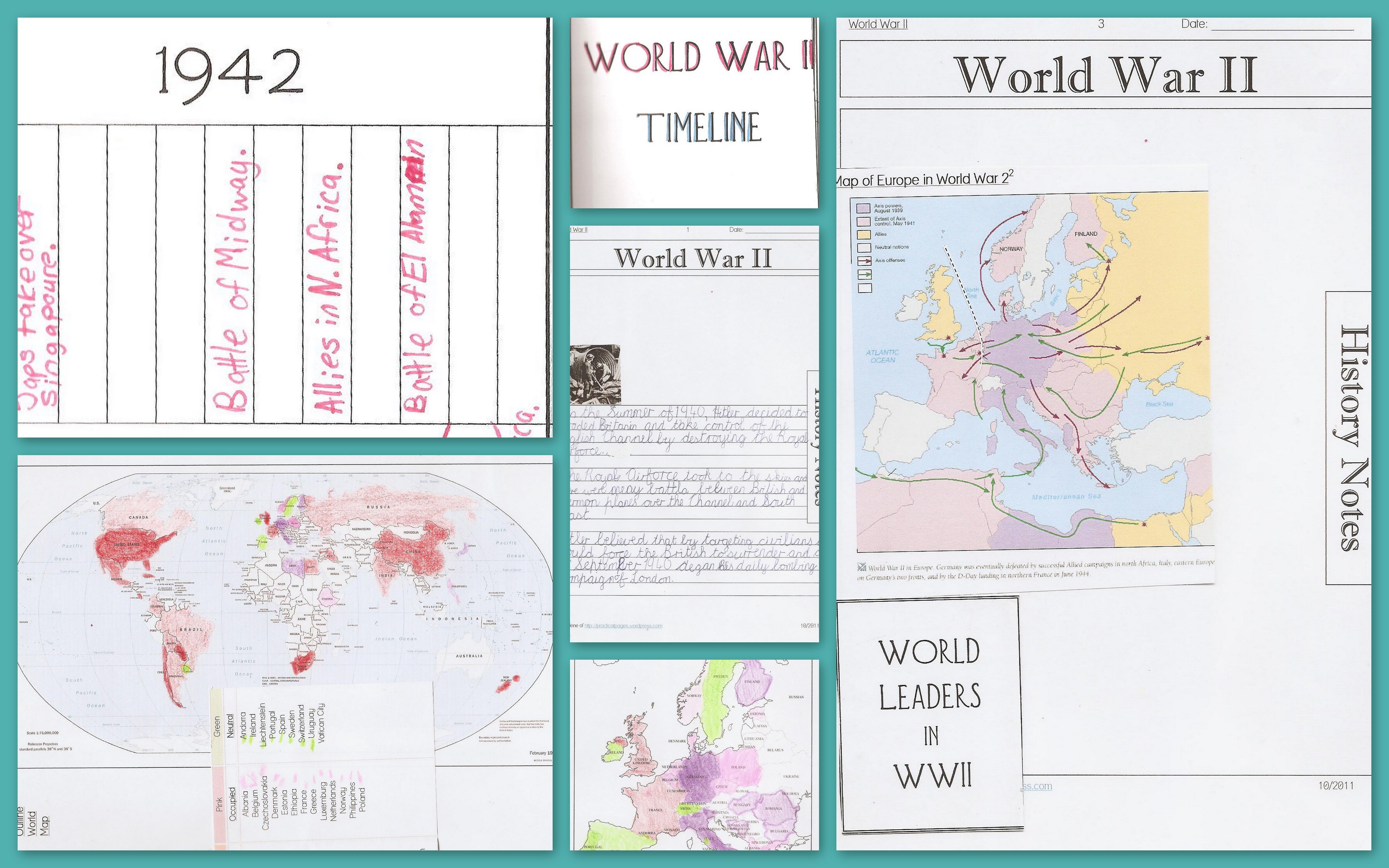 World War Ii Notebook Pages Maps Timelines Amp Online Resources
