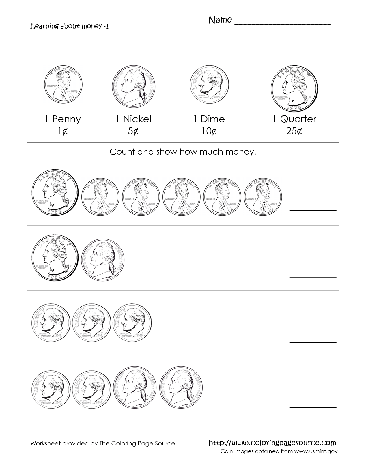 Counting Coins Worksheets For 1st Graders