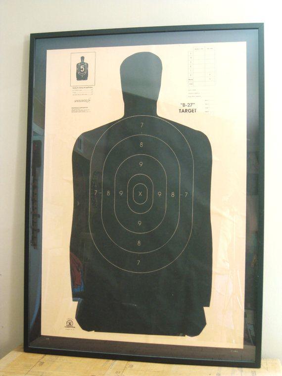 Shooting Target Framed Shooting Range Target Large Art Paper Ephemera Contemporary