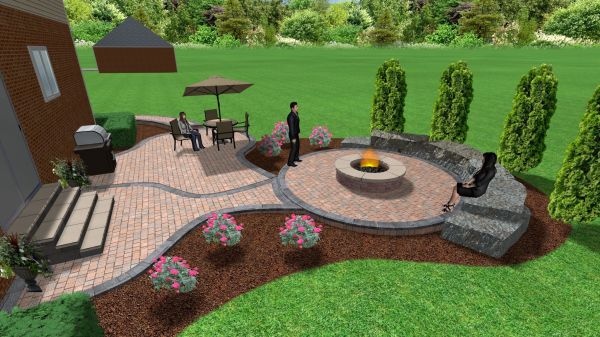 paver patio with fire pit design ideas Brick paver patio and fire pit | 3D Landscape Designs