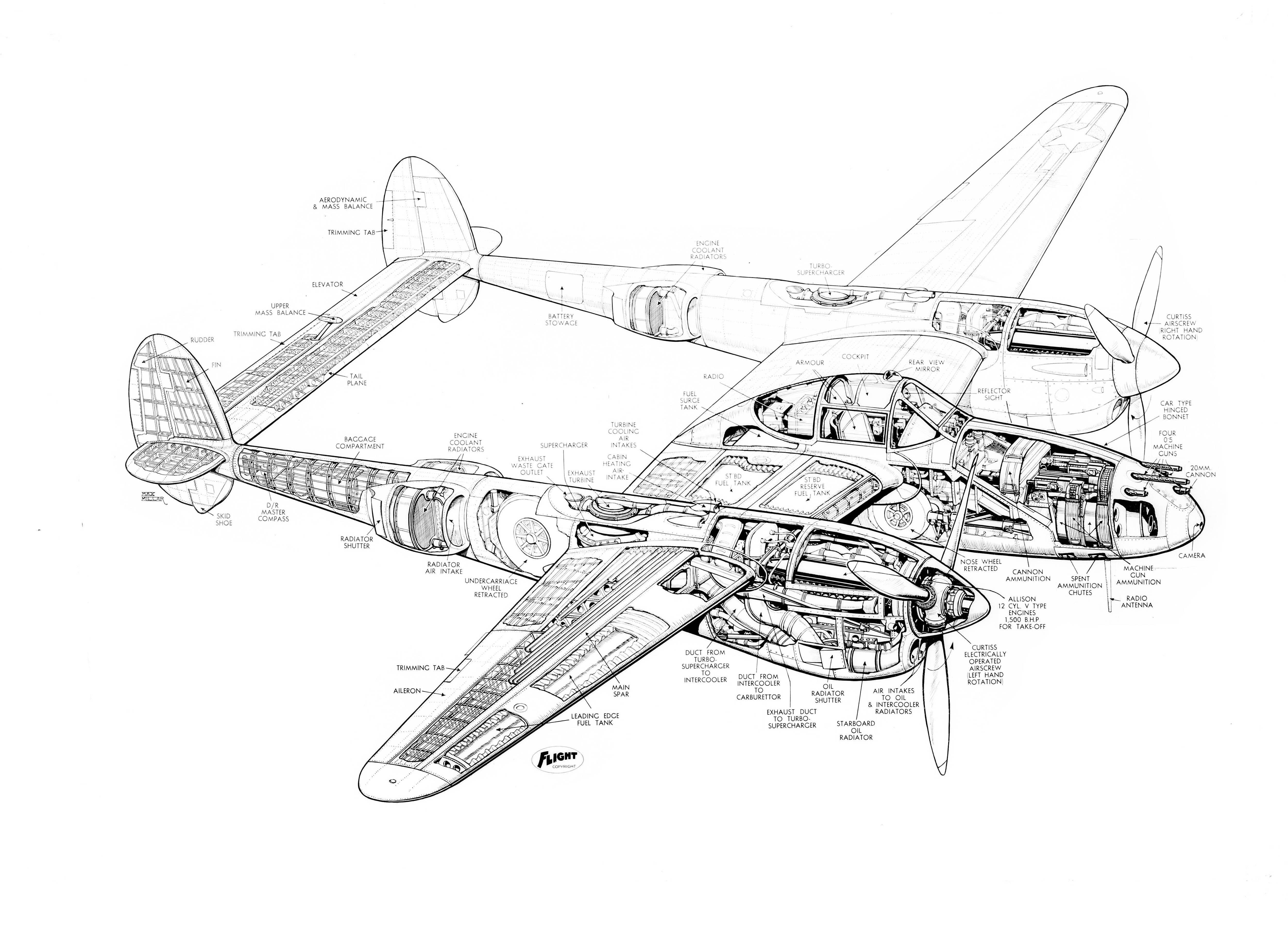 Lockheed P 38 Lightning Cutaway Drawing 5 000 3 596