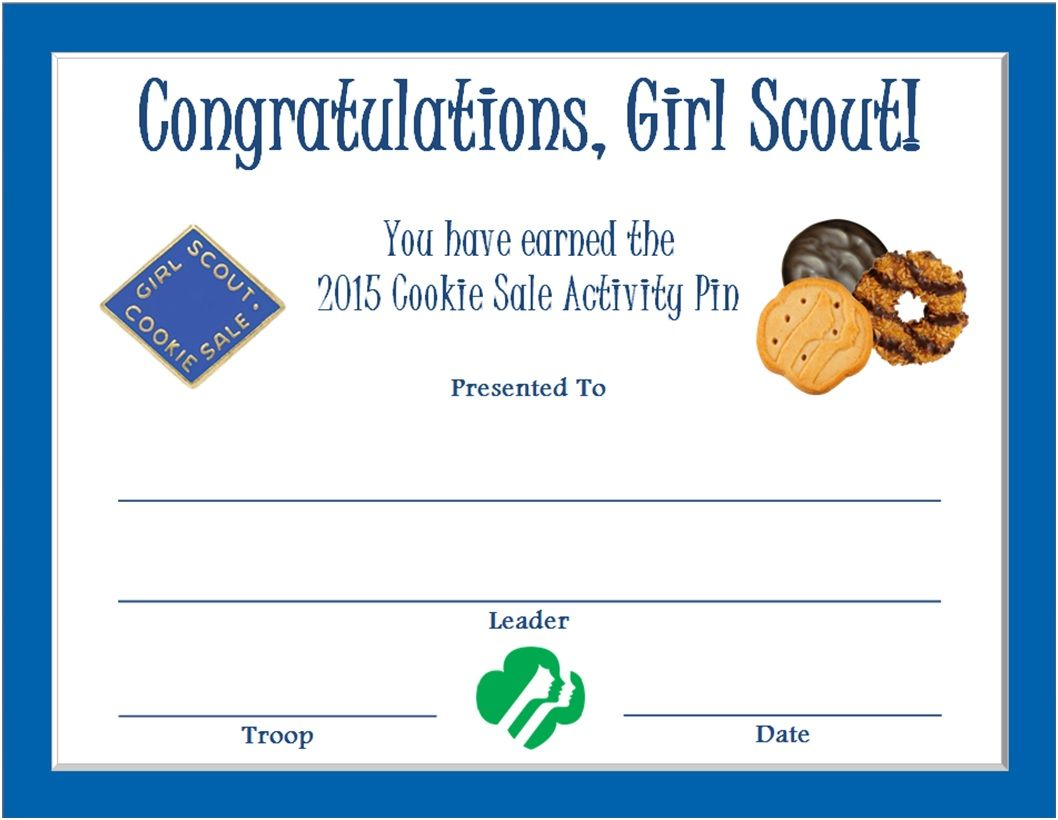 Cookie Sale Activity Pin Certificate