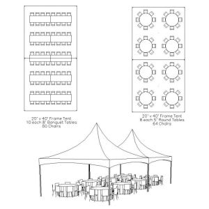 20 x 40 Frame Tent Table & Chair Layout | Bat Mitzvah
