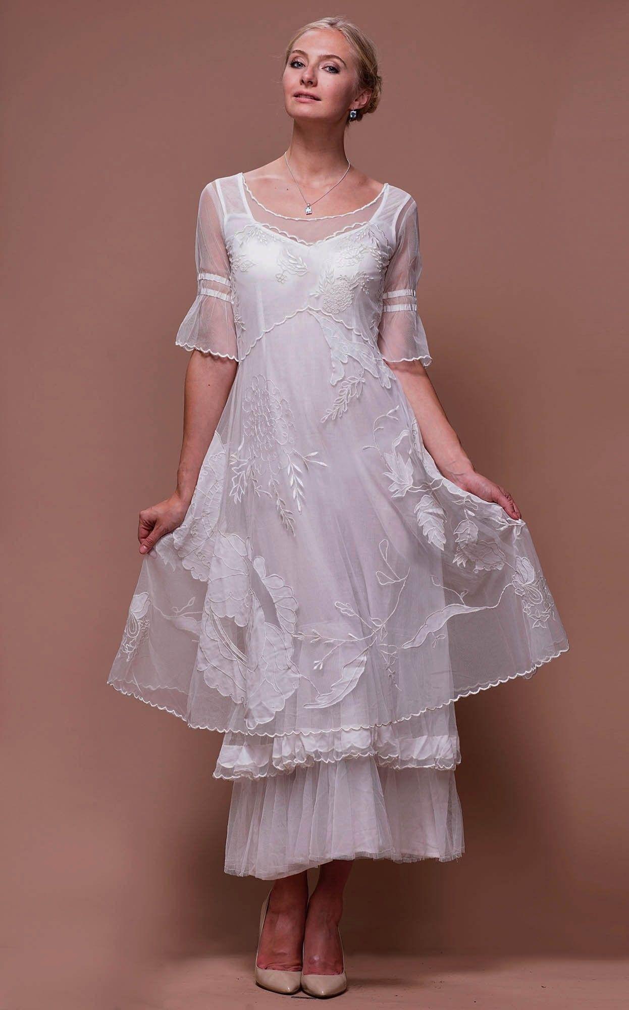 Titanic Tiered Vintage Wedding Dress In Ivory By Nataya