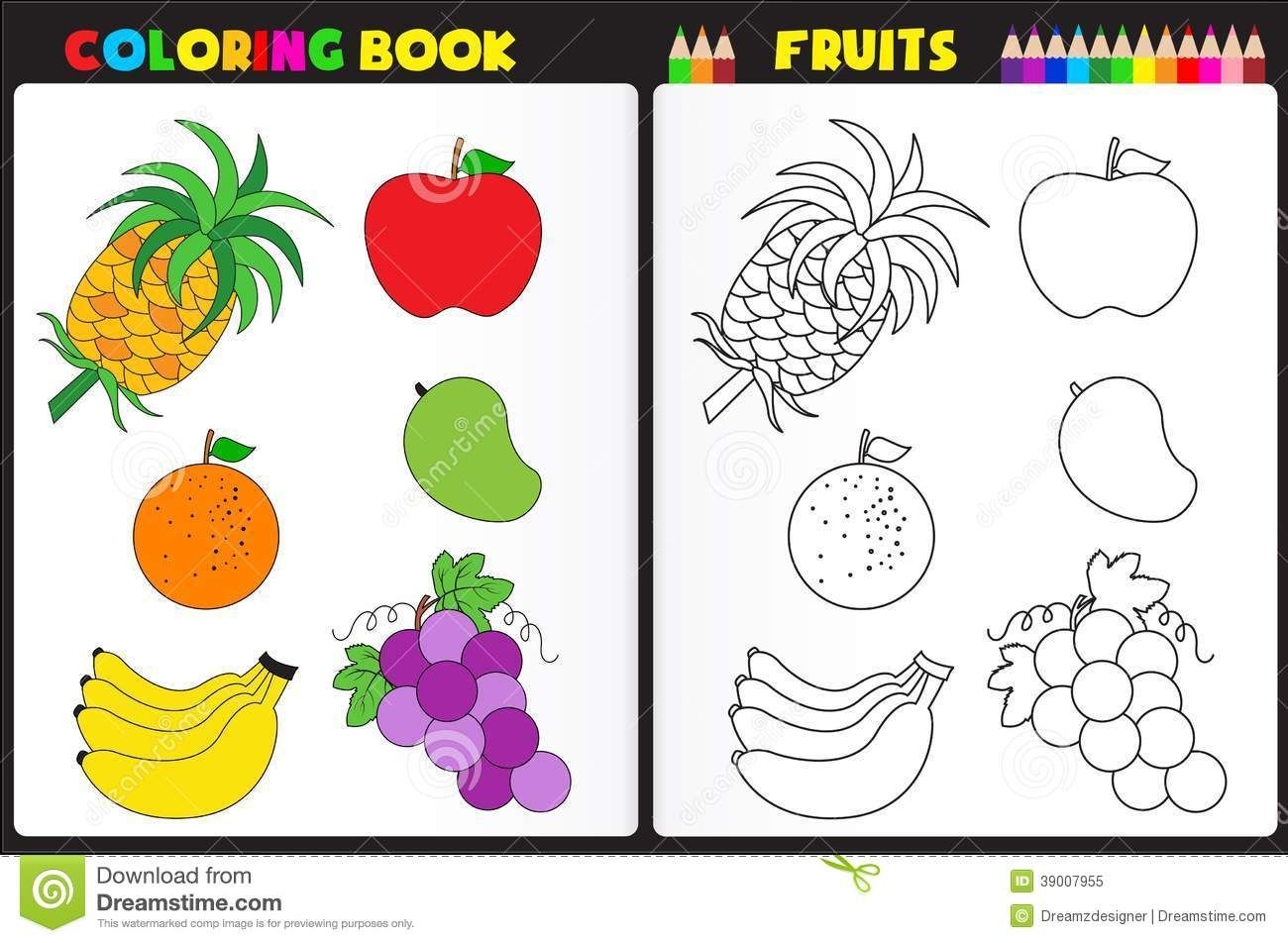 Coloring Book Page Fruits Nature Kids Colorful Sketches To Color 952