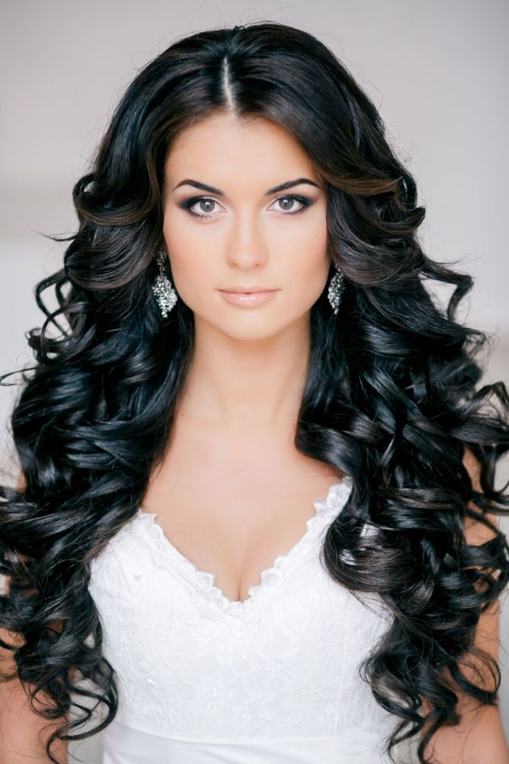 Stunning Brunette Curls Feminine Bridal Hair PromFormal