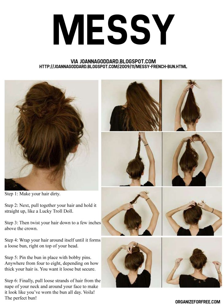 Messy bun howto Hair Pinterest Easy hairstyles Pdf and th