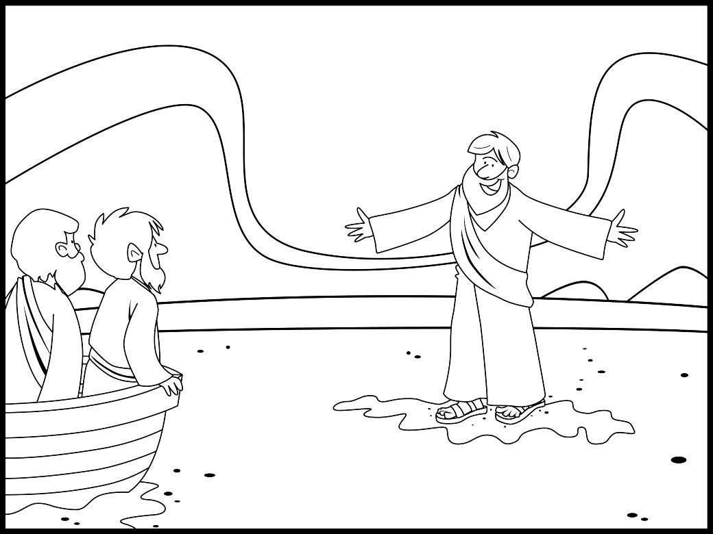 Coloring Page For A Lesson On Jesus Walking On Water