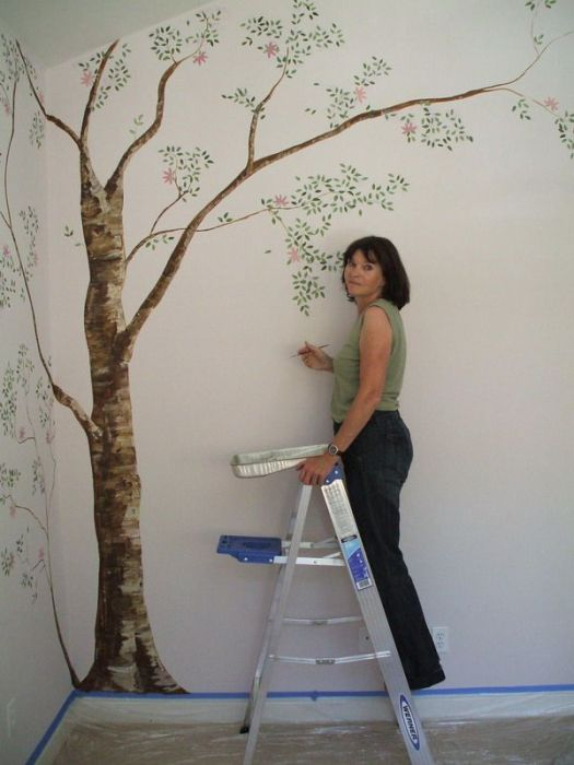 Simple Tree Wall Murals Painting Decorating Ideas