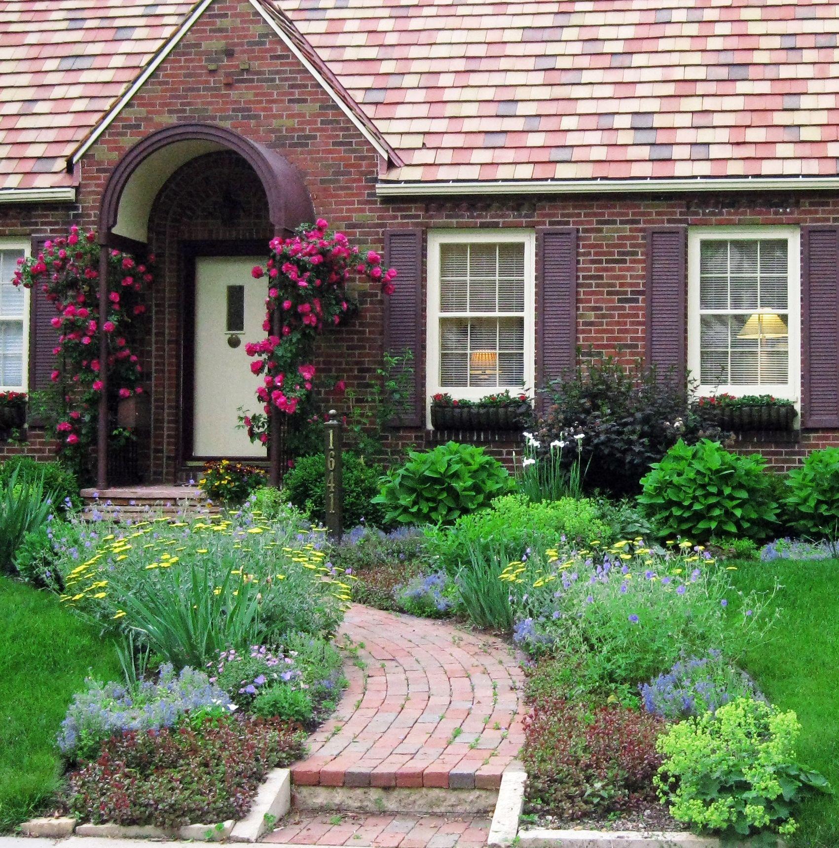 Front Yard Cottage Garden John Cabot Climbing Roses   Lori ... on Cottage Yard Ideas id=63984