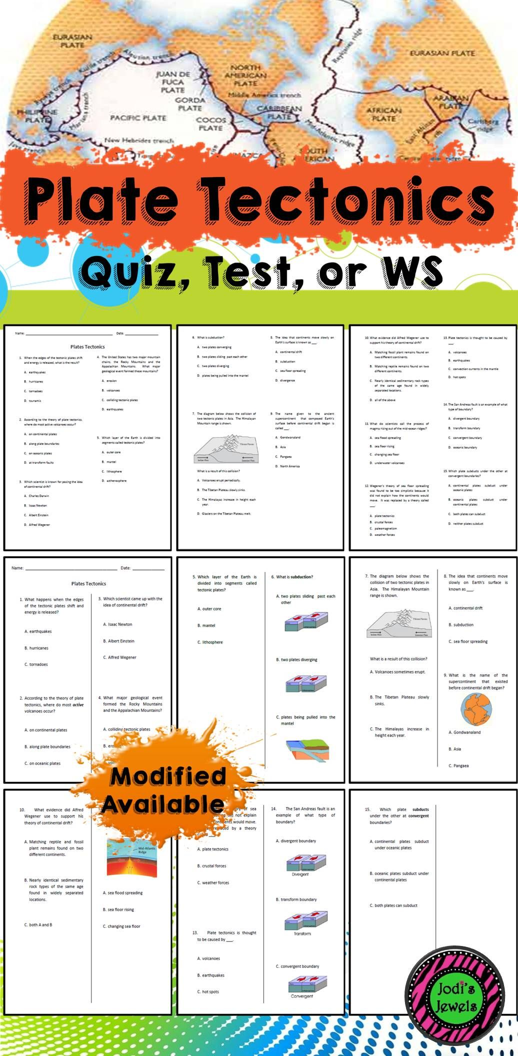 Plate Boundaries Worksheet Middle School